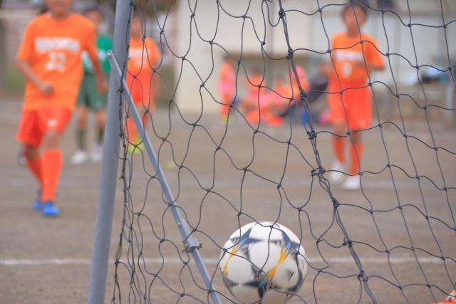 ゴールに入っているサッカーボール