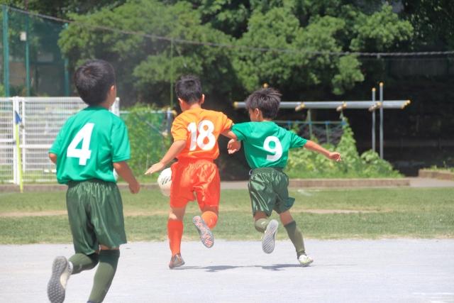 サッカーのボールの競り合い